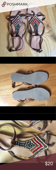 Beaded Sandals Beaded flat sandals. Size 9 Shoes Sandals