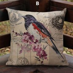 Bird throw pillow Vintage pastoral style decorative pillows 18 inch