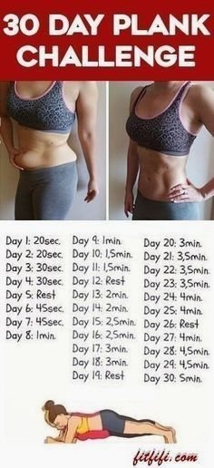 Try This 30 Day Plank Exercise for Beginners to Help You Get a Flat Belly and Smaller Waist  #HealthandFitness