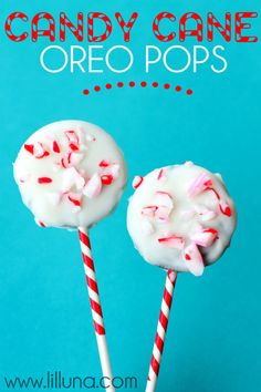 Candy Cane Oreo Pops. Quick, easy and delish! { lilluna.com }