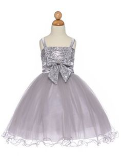This dazzling extravagant dress has spaghetti straps paillette sequined bodice with double layered tulle skirt.