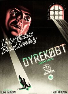 Danish poster for KISS OF DEATH (Henry Hathaway, USA, 1947)