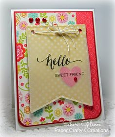 Hello card by Sheri Gilson using Summer Bliss 6x6 Pad (Echo Park), Hand Lettered Hello (WPlus9 Designs), Tuxedo Black Ink (Memento), Stitched Banner Set (Lawn Fawn), Twine (Hemptique), Scor-buddy, and ATG Tape. All available at iheartpapers.com