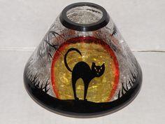 Yankee Candle Black Cat Crackle Glass Jar Candle Shade Very RARE | eBay