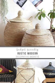 50 Rustic x Modern Decorative Baskets Unique Home Decor, Diy Home Decor, Room Decor, Home Decor Items Online, Apartment Chic, Laundry Hamper, Basket Decoration, Home Decor Furniture, Modern Rustic