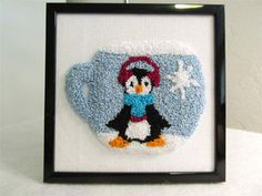 December Punch Needle Pattern winter penguin mug by PunchHappy, $4.95. Custom Orders Gladly Accepted.