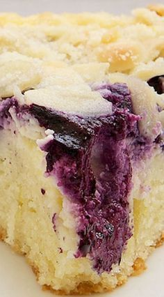 Blueberry Cream Cheese Coffee Cake- perfect with a cup of joe in the morning! Bake or Break Blueberry Desserts, Just Desserts, Delicious Desserts, Yummy Food, Blueberry Crumble, Tasty, Blueberry Cake, Blueberry Cheesecake, Apple Desserts