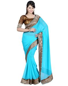 Indian House Smart Blue Colour Georgette Saree Online At Aimdeals.com - 01