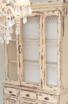 Salvaged Inspirations | Farmhouse-Chic-Hutch painted with Old Fashion Milk Paint in Buttermilk Yellow.