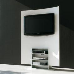 Mueble tv folio de alivar con contenedores laterales para dvd e iluminacion fluorescente.