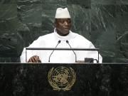 Gambias Präsident Yahya Jammeh verkündet vor der Uno-Generalversammlung den Austritt seines Landes aus dem ICC aufgrund der unfairen Behandlung Afrikas. (Bild: Frank Franklin/AP/Keystone)