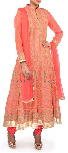 Buy Online from the link below. We ship worldwide (Free Shipping over US$100). Product SKU - 304364.Product Link - http://www.kalkifashion.com/pink-anarkali-suit-adorn-in-zari-embroidery-only-on-kalki-18629.html