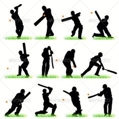 Buy Cricket Players Silhouettes Set by kaludov on GraphicRiver. Cricket Cake, Cricket Tips, Test Cricket, Cricket Sport, Volleyball Players, Tennis Players, Football Players, Football Cakes, 30 Days Of Hiit