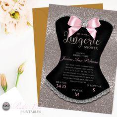 Lingerie Shower Invitation Gold Glitter Color Bachelorette Party Invitation…