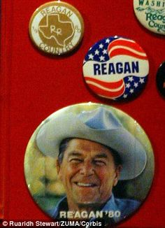 Buttons from the Reagan presidential campaign in the 80's are on display at the Ronald Reagan Presidential Library and Museum, which chronicles the life of the 40th President of the United States