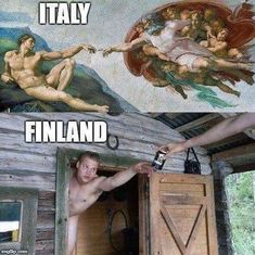 Tagged with funny, art, memes; Art In Finland Short Jokes Funny, Wtf Funny, Finnish Memes, Best Funny Pictures, Funny Images, Meanwhile In Finland, Learn Finnish, Haha, Finnish Sauna