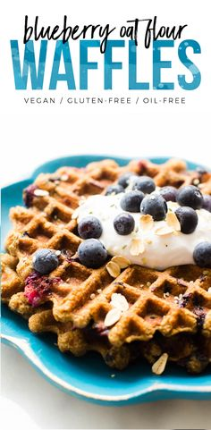 Naturally gluten-free waffles made with oats and flecked with sweet berry spots–these Blueberry Oat Flour Waffles are a perfect easy, healthy, vegan breakfast!