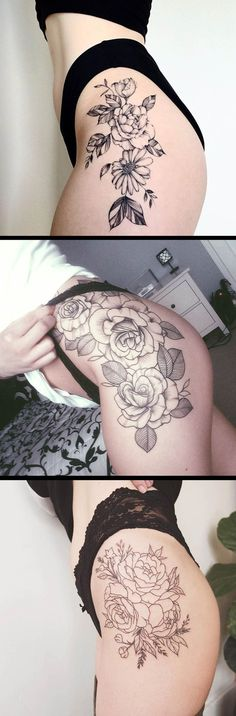 Vintage Black and White Floral Flower Hip Tattoo Ideas for Women - Realistic Wild Rose Thigh Tat - tatuaje de cadera de flor - www.MyBodiArt.com