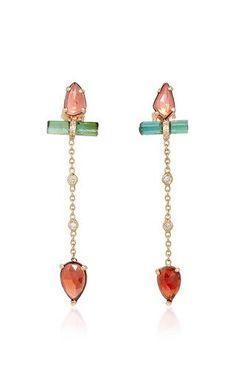 Freeform pink tourmaline pave green tourmaline bar 2 diamond bezel chain earrings by JACQUIE AICHE for Preorder on Moda Operandi