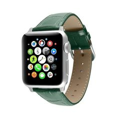 Apple Watch Replacement Leather Band 38mm with Steel Adapter ($30) ❤ liked on Polyvore featuring jewelry, watches, green, green watches, steel watches, leather wrist band watch, leather band watches and green jewelry