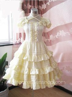 Lolita Light Yellow Cotton Square Neck Short Sleeves Bow Multilayer Sweet Dress
