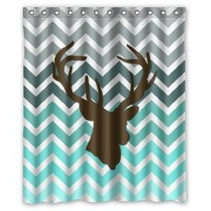 """Personalized Turquoise Chevron Deer head designed Funky, bright 60"""" x 72"""" Polyester Fabric Waterproof Shower Curtains"""