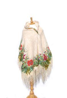 Nuno Felted scarf Felted poncho shawl silk merino wool Kid Mohair ivory cream white red poppy green felted flower felted art rustic folk