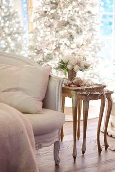 Merry & Bright ~ My favorite Frosted Fir Christmas tree ~ French Country Cottage