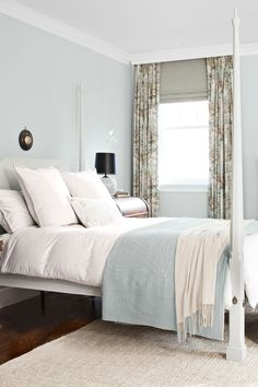 Image of: warm bedroom color schemes master bedroom calming bedroom color schemes warm bedroom colors Calming Bedroom Colors, Bedroom Paint Colors, Bedroom Color Schemes, Pale Blue Bedrooms, Blue Rooms, Small Bedrooms, White Rooms, Cozy Bedroom, Bedroom Decor