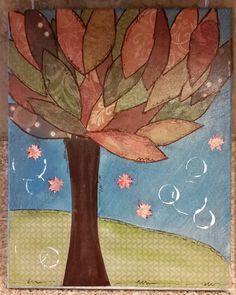 Mixed Media Autumn Tree, Fall Home Decor, Nature Art, Office Decor, Whimsical Collage Tree by TheInspiredCrafter on Etsy
