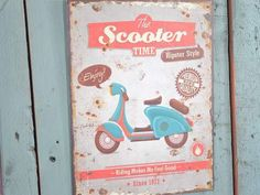 Quadro in metallo Estate in viaggio SCOOTER idea regalo country casa