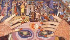 """""""La Historia del Teatro,"""" mural by Diego Rivera on the façade of the Teatro de los Insurgentes in México City."""