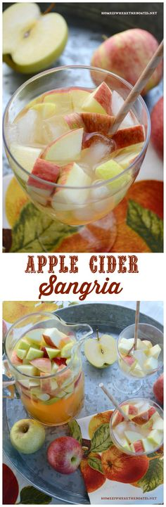 Apple Cider Sangria! An easy seasonal cocktail for a crowd with fresh apple cider and ideal to mix up for tailgating or just because it's fall! #sangria #apple #cocktail #fall
