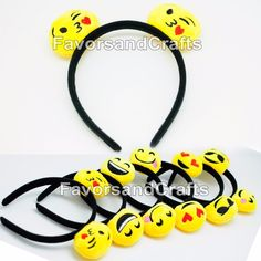NEW - 12 Emoji Headbands. The perfect accessory for any emoji themed birthday party. Listing includes 12 Emoji headbands. Add this store to youfavorites list!