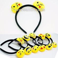 12 Emoji Headbands Emotion Ears Emoticon Happy Face Party Favors Hat Supplies | eBay