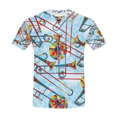 60eac2952 Men's T Shirt Colorful Trombone Art Print By Juleez All Over Print T-Shirt  for