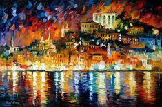 """Einladender Hafen-Palette Messer Nacht Stadtbild Ozean Ölgemälde auf Leinwand von Leonid Afremov. Größe: 36 """"X 24"""" Zoll (90 cm x 60 cm)"""