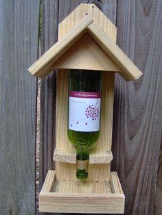 Wine Bottle Bird Feeder by HideyHoleCrafts on Etsy