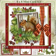 - Three sheets mini kit includes:- 8 inch square topper and two 3 inch square toppers, insert sheet and decoupage sheet with. Christmas Animals, Card Kit, Card Designs, Decoupage, Card Making, Mini, Frame, Cards, Card Patterns