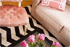 black and white chevron rug
