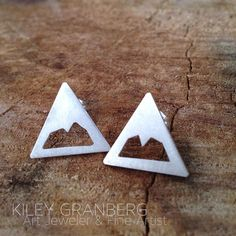 Mountain Earrings Recycled Sterling Silver Hand made On Etsy! www.kileygranberg.com Copper Jewelry, Jewelry Art, Canadian Art, Unique Art, Recycling, Mountain, Stud Earrings, Etsy Shop, Jewels