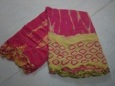 Pink and yellow shibori pure chiffon sarees Kurti Skirt, Salwar Dress, Sari Dress, Saree Blouse, Kanjivaram Sarees Silk, Shibori Sarees, Georgette Sarees, Shiffon Saree, Cutlets Recipes