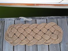 """This nautical doormat uses over 120 feet of 1/2"""" traditional manila rope.  I can't believe how popular they were this week in our shop here in Mystic.  These mats last 'forever' and I love to make them myself."""