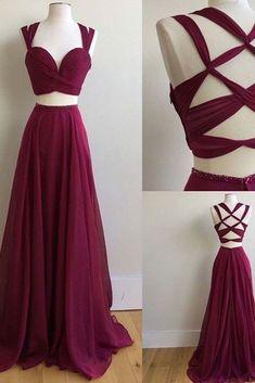 2018 evening gowns - Crimson chiffon two pieces long dresses,unique back dresses for prom