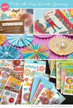 Party with Amy Locurto - New Signature Product Line of paper and embellishments for Parties, Crafts, Scrapbooking and Cardmaking for Pebbles Inc.