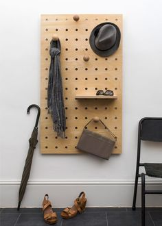 Are you interested in our Wooden pegboard plywood storage panel? With our natural birch plywood peg board you need look no further. Pegboard Ikea, Wooden Pegboard, Pegboard Storage, Wall Organization, Storage Rack, Painted Pegboard, Kitchen Pegboard, Hallway Storage, Bike Storage Room