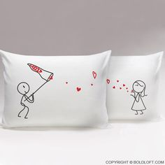 Catch My Love™ Couples Pillow Cases,His and Hers Pillowcases,Couple Gifts,Boyfriend Girlfriend Gifts,For Couples Gifts,Heart Pillow Case by BoldLoft on Etsy https://www.etsy.com/listing/220792266/catch-my-love-couples-pillow-caseshis