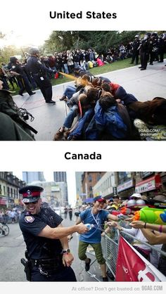 funny United States vs Canada cops on imgfave Meanwhile In Canada, I Am Canadian, Canadian Humour, Nostalgia, Moving To Canada, Lol, Just For Laughs, That Way, Funny Photos