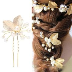 1Pc Bridal Gold Leaf Branch Perle Pince à Cheveux Épingle à Cheveux Diadème Bandeau Bijoux De Cheveux