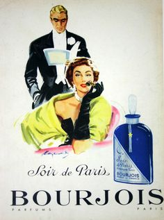 """Soir de Paris"" in the better stores.""Evening in Paris"" in the dimestore.clever marketing tool for a scent that smelled like Raid. Vintage French Posters, Pub Vintage, Vintage Glam, Perfume Ad, Antique Perfume Bottles, Vintage Perfume, Vintage Baby Pictures, Vintage Images, Retro Advertising"